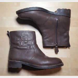 Tory Burch Brown Leather Moto Boot